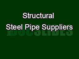 Structural Steel Pipe Suppliers