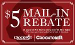 MAILIN REBATE On any CrockPot Slow Cooker priced