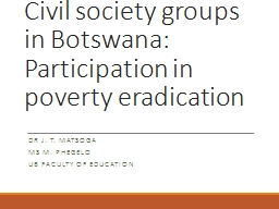 Civil society groups in Botswana: Participation in poverty
