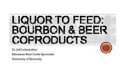 Liquor to Feed: Bourbon & Beer Coproducts