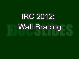 IRC 2012: Wall Bracing