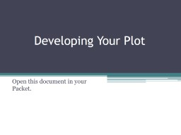 Developing Your Plot