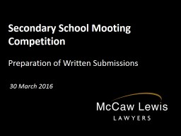 Secondary School Mooting Competition