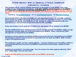 1 SPSRB Decision Brief on Declaring a Product Operational PowerPoint PPT Presentation