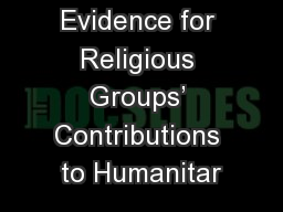 Evidence for Religious Groups' Contributions to Humanitar