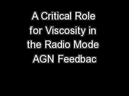 A Critical Role for Viscosity in the Radio Mode AGN Feedbac