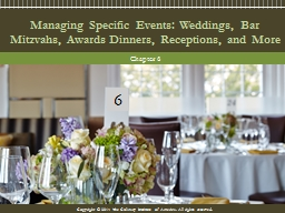 Managing Specific Events: Weddings, Bar Mitzvahs, Awards Di