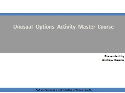 Unusual Options Activity Master Course