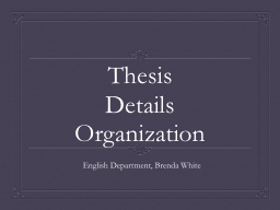 Thesis PowerPoint PPT Presentation