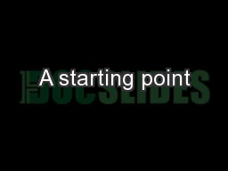 A starting point