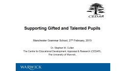 G & T: Supporting Gifted and Talented Pupils PowerPoint PPT Presentation