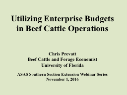 Utilizing Enterprise Budgets in Beef Cattle Operations