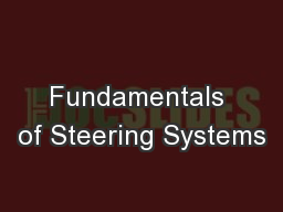 Fundamentals of Steering Systems