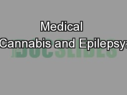 Medical Cannabis and Epilepsy: