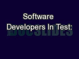 Software Developers In Test: