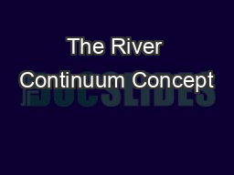 The River Continuum Concept
