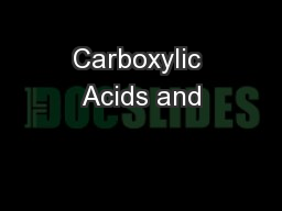 Carboxylic Acids and