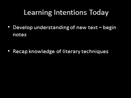 Learning Intentions Today