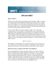 EPS and ABET What is ABET ABET is the Accreditation Bo