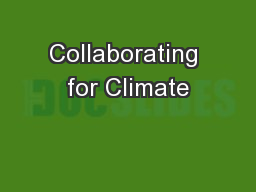 Collaborating for Climate