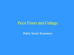 Price Floors and Ceilings PowerPoint PPT Presentation