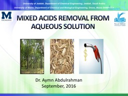 MIXED ACIDS REMOVAL FROM AQUEOUS SOLUTION