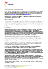 ORPORATE GOVERNANCE STATEMENT  In  Tecnotree abided by