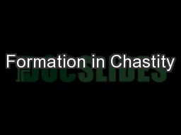 Formation in Chastity