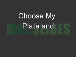 Choose My Plate and