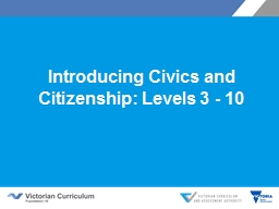 Introducing Civics and Citizenship: Levels 3 - 10