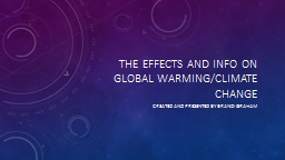 The effects and info on Global warming/climate change
