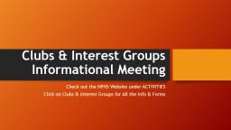 Clubs & Interest Groups
