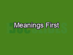 Meanings First
