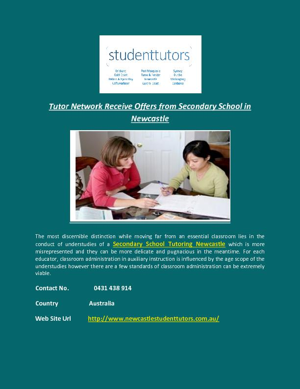 Tutor Network Receive Offers from Secondary School in Newcastle PowerPoint PPT Presentation