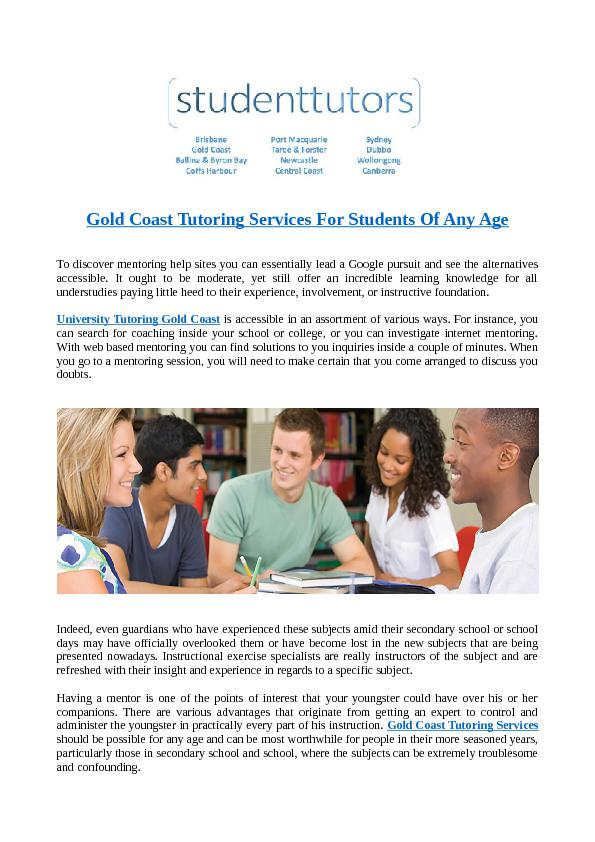 Gold Coast Tutoring Services For Students Of Any Age