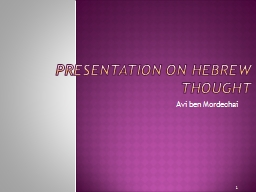 Presentation on Hebrew Thought PowerPoint PPT Presentation