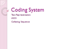 Coding System PowerPoint PPT Presentation