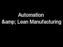 Automation & Lean Manufacturing