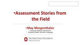 Assessment Stories from the Field