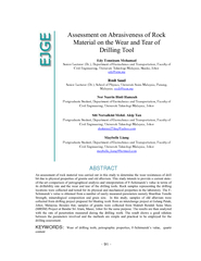 Assessment on abrasiveness of rock material on the wear and tear of drilling tool