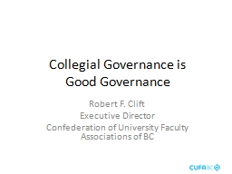 Collegial Governance is PowerPoint PPT Presentation