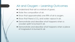 Air and Oxygen – Learning Outcomes