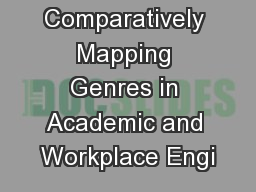 Comparatively Mapping Genres in Academic and Workplace Engi