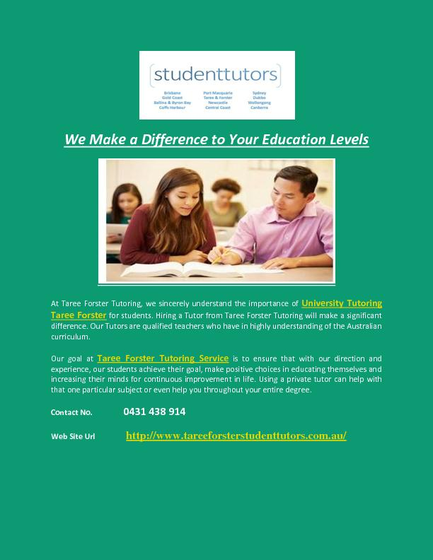 We Make a Difference to Your Education Levels