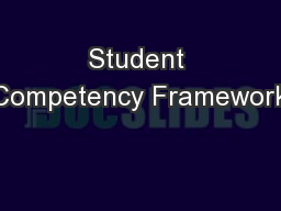 Student Competency Framework