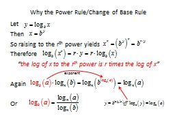 Why the Power Rule/Change of Base Rule PowerPoint PPT Presentation