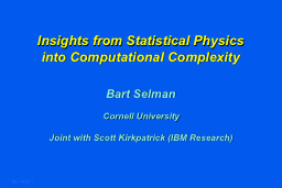 Insights from Statistical Physics PowerPoint PPT Presentation
