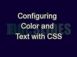 Configuring Color and Text with CSS