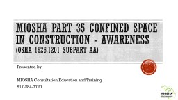 MIOSHA Part 35 Confined Space in Construction - Awareness