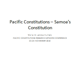 Samoa's Constitution – the limited references to Samoan